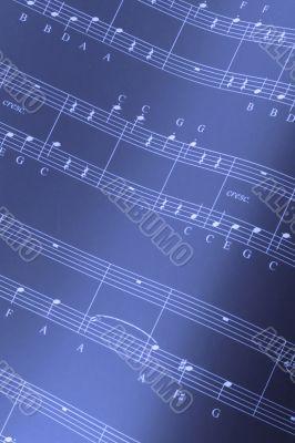 A musical score in blue