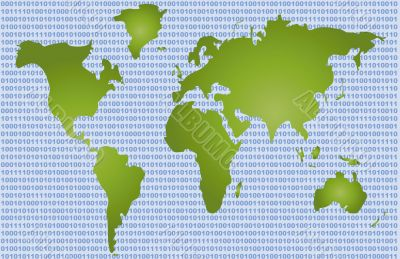 Binary Code World Map
