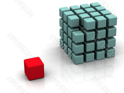 One individuality red cube