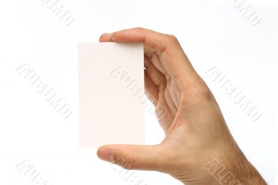 Man holding a business card
