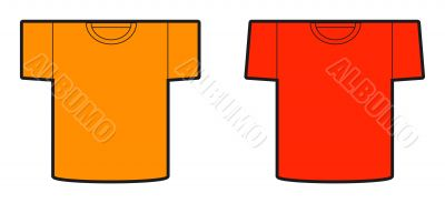 A model of a two t-shirt designs