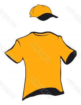 A model of a t-shirt and cap design
