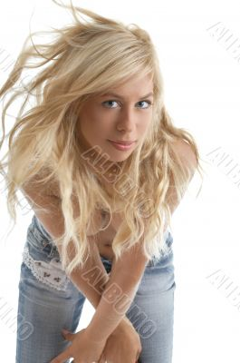 blond in blue jeans