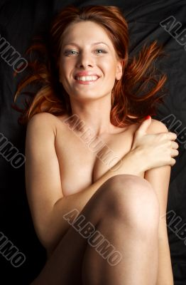 redhead on black