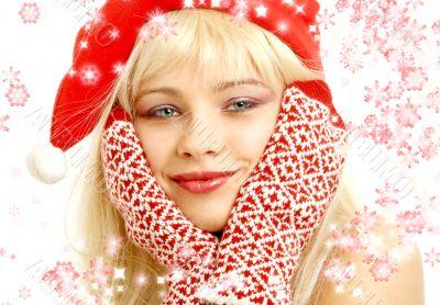 christmas girl with showflakes