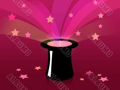 Magic black hat and stars