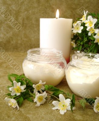 cream with white flowers