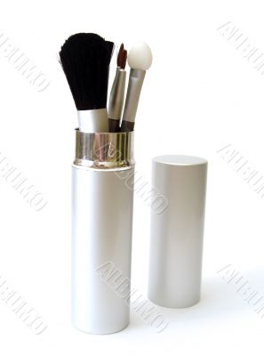set of make-up brushes on white