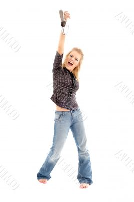 screaming blond with white shoe