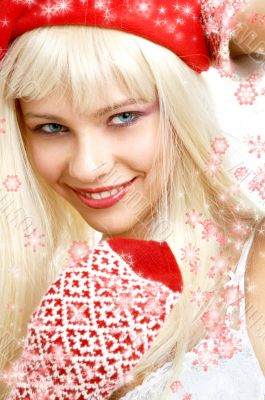 santa helper girl #2 with snowflakes