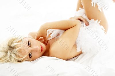 lovely blond in feather boa