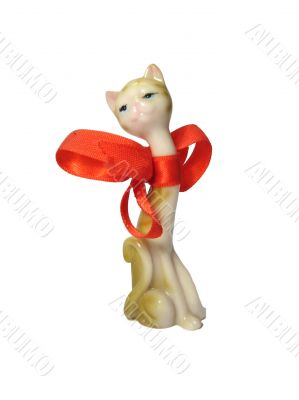Porcelain-figure of cat with red bow