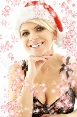 christmas blond in lingerie black with snowflakes