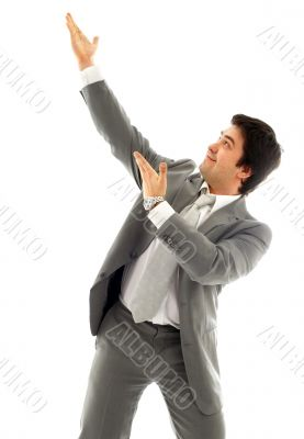 businessman showing imaginary product