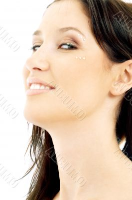 smiling brunette with diamond make-up