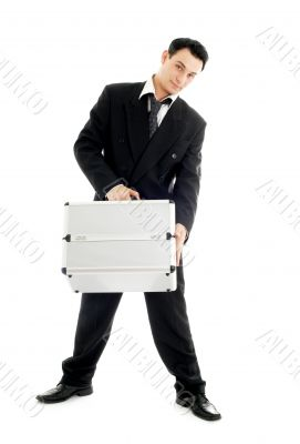 businessman with metal container