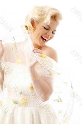 joyful blond in retro style