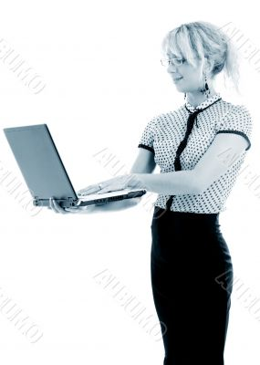 monochrome portrait or energetic businesswoman with laptop