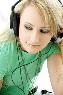 teenage girl in headphones