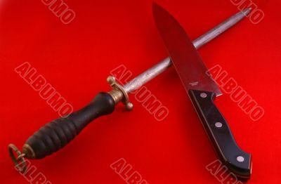 Chef`s knife & butcher`s steel
