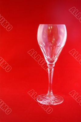 Empty crystal wine goblet