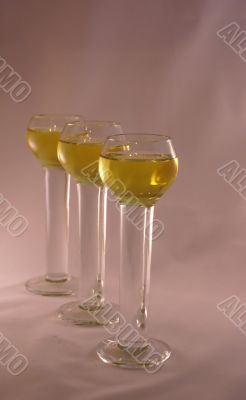 Three crystal liqueur glasses