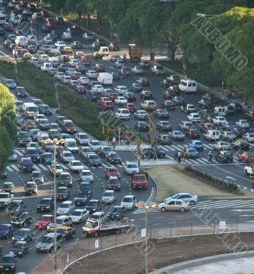 Rush hour traffic, twilight