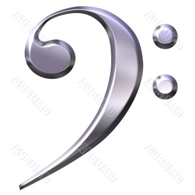 3D Silver Bass Clef