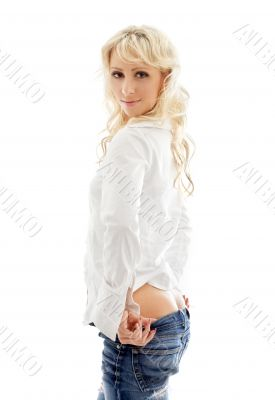lovely blond pulling jeans down