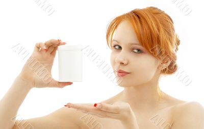 lovely redhead showing blank medication container