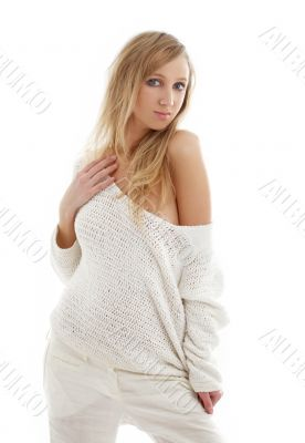 lovely blond in white linen trousers and sweater