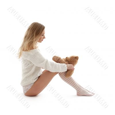 lovely blond in white sweater with teddy bear #2