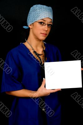 Surgeon with card