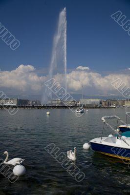 Geneva harbour with Jet D`eau