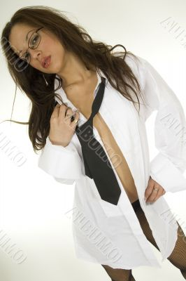 woman in shirt and tie