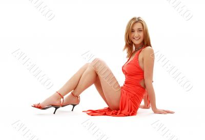 classical red dress pin-up girl