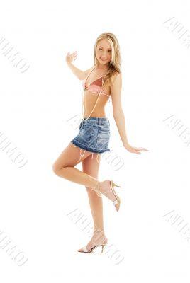 happy blond in denim skirt #2
