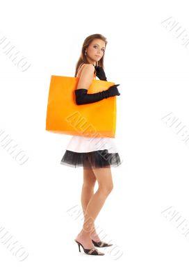 elegant lady with orange shopping bag