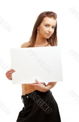 lovely girl holding blank sign board