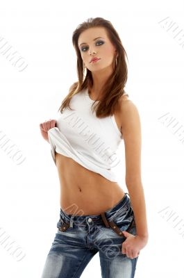 lovely girl in blue jeans and white shirt
