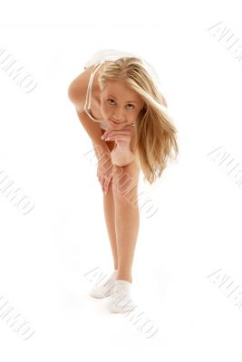 happy blond in white dress and socks