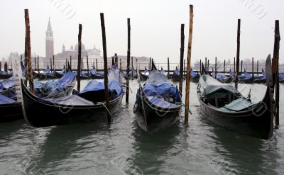 Gondolas in Venice lined up