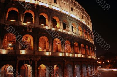 Side profile of Colisseum at night