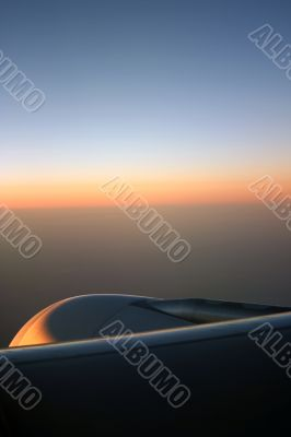 Sunrise over aeroplane engine II