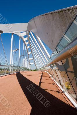 White bridge against a clear blue sky