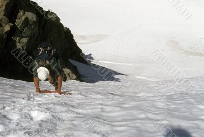 Descending steep glacier wall,