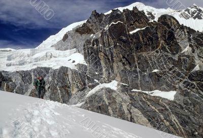 Climber approaching the pass