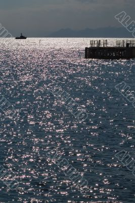 The sea sparkles