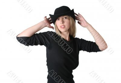 Beauty blonde girl with black hat