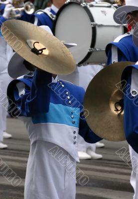 Cymbals player in marching band